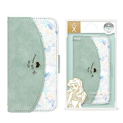 iPhone X 迪士尼 心型 雙層/插卡/ 翻蓋式 皮套 5.8吋-小美人魚
