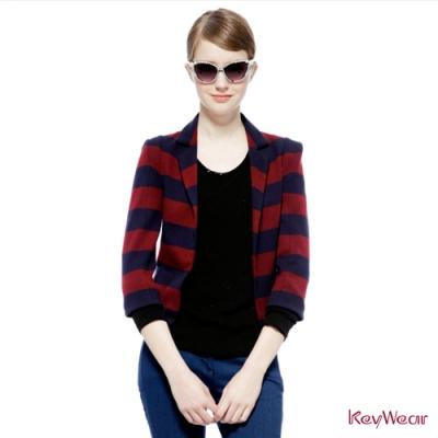 KeyWear奇威名品     經典紅藍條紋俐落西裝外套-深藍色