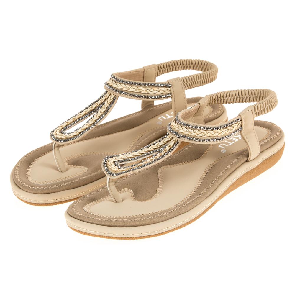 JMS-涼夏編織鑽飾水滴造型夾腳涼鞋-杏色