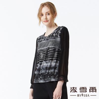 麥雪爾 動物紋拼接八分袖雪紡上衣-黑