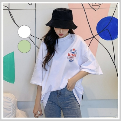 長版T恤 慵懶個性印花五分袖T恤NG10195-創翊韓都
