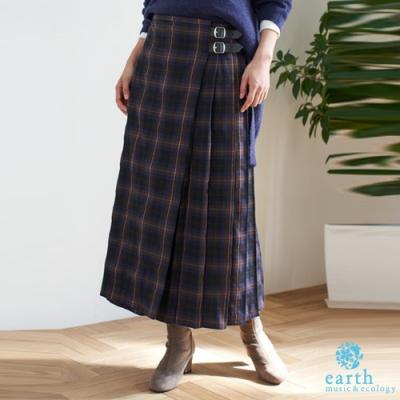earth music 格紋圖案側百摺腰帶裝飾長裙
