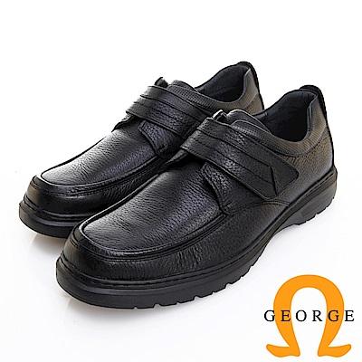 GEORGE 喬治皮鞋 舒適系列 荔枝紋厚底魔鬼氈休閒鞋 -黑