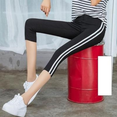 La Belleza運動休閒健身房鬆緊腰側邊雙槓條紋彈性高腰七分內搭褲