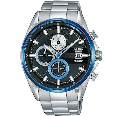 ALBA雅柏 年輕世代計時手錶(AM3599X1)-黑x銀/43mm