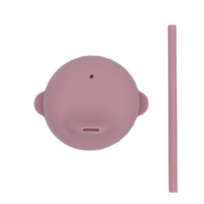 澳洲We Might Be Tiny 動物矽膠杯套吸管組-煙燻玫瑰