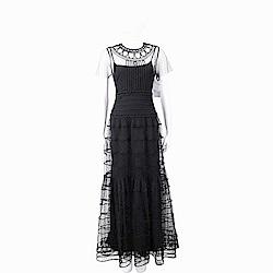 RED VALENTINO 立體繡緞附內襯裙黑色蕾絲晚宴洋裝