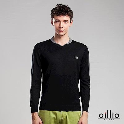 oillio歐洲貴族 長袖V領毛衣 100%純羊毛毛衣 黑色