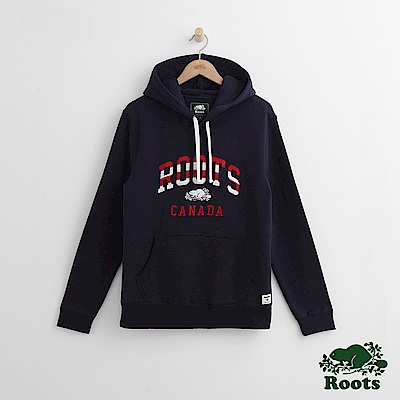 Roots 男裝-條紋字標連帽上衣-藍色