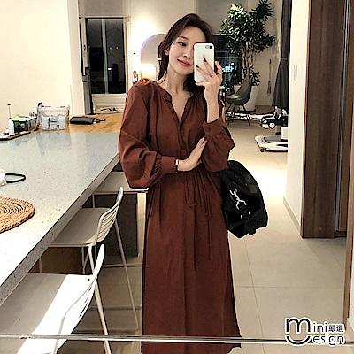 V領燈籠袖連身綁帶長洋裝-咖啡色
