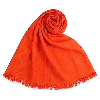 HERMES 經典家徽羊絨混絲圍巾(橘色)