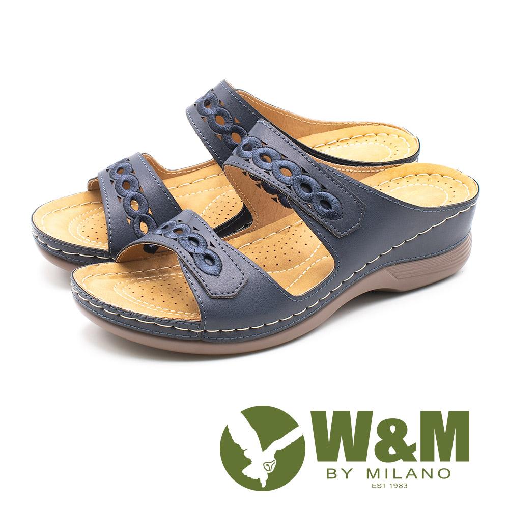 W&M 超輕量坡跟刺繡花紋雙帶拖鞋 女鞋 - 藍(另有棕)