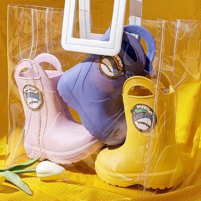 【優貝選】馬卡龍色系童趣小鯊魚舒適兒童雨鞋(4色)
