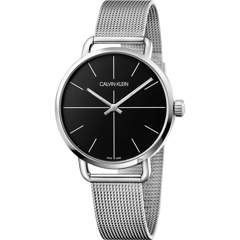 Calvin Klein CK Even 超然系列十字線米蘭帶手錶-黑x銀/42mm