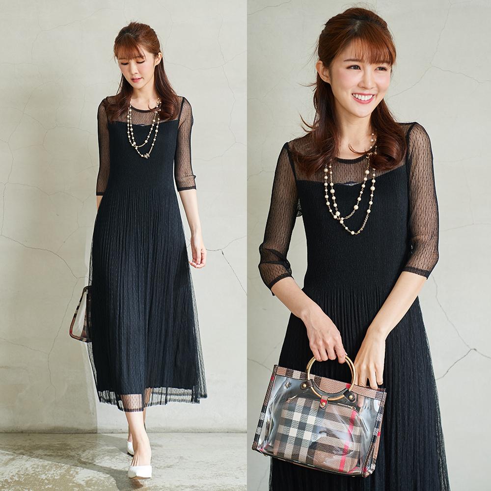 M@F摺衣 披肩網紗壓褶洋裝-黑色