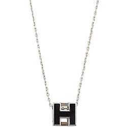 HERMES H LOGO方塊項鍊(黑/銀)