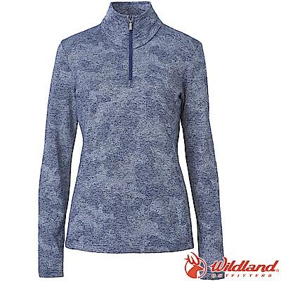 Wildland 荒野 0A62605-72深藍色 女彈性雙色緹花保暖上衣