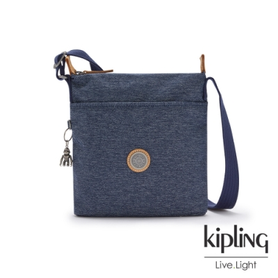 Kipling 深色丹寧藍簡約斜背方包-KALAO