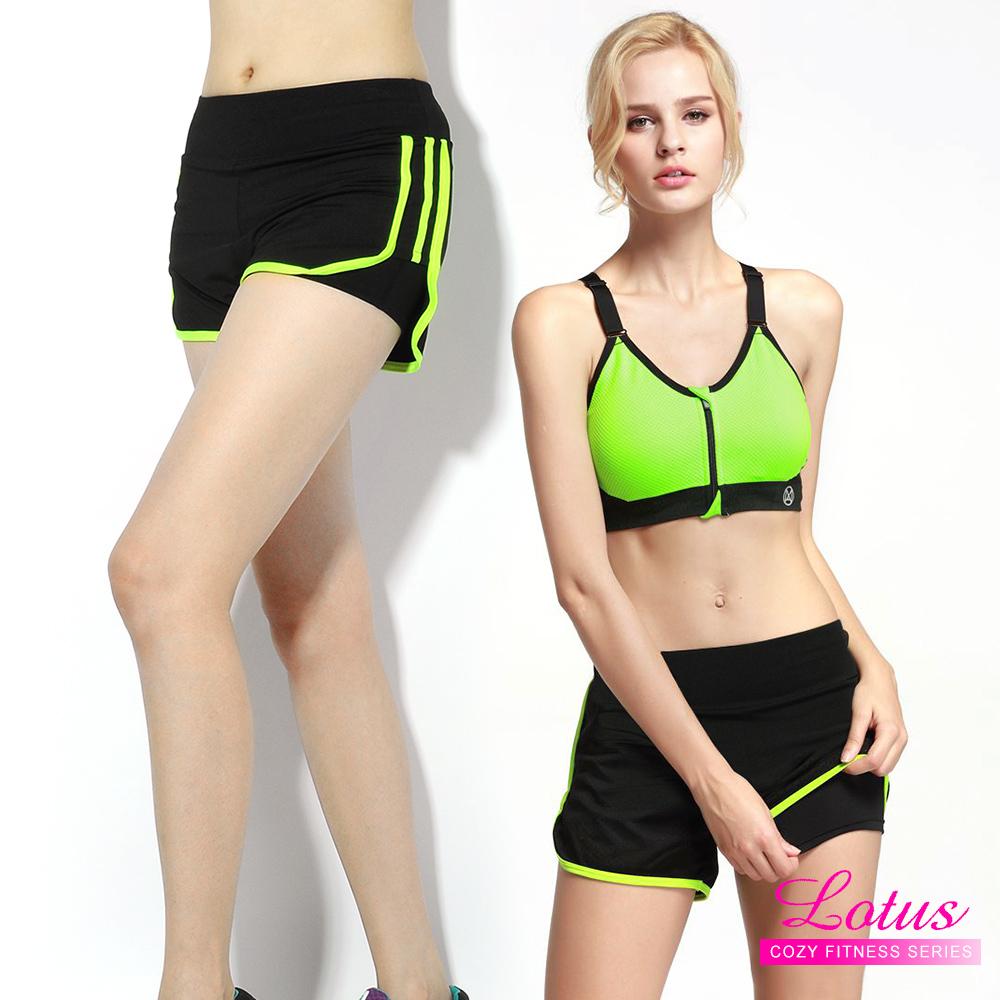 運動褲 雙層防走光玩色拼接彈力速乾運動短褲 螢光黃 LOTUS