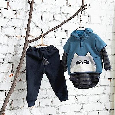 PIPPY 浣熊包屁衣三件組禮盒-藍