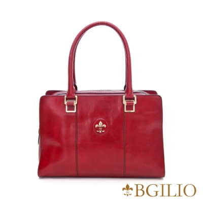 【義大利BGilio】復古牛皮方包大款 - 紅色(1561.003A-01)
