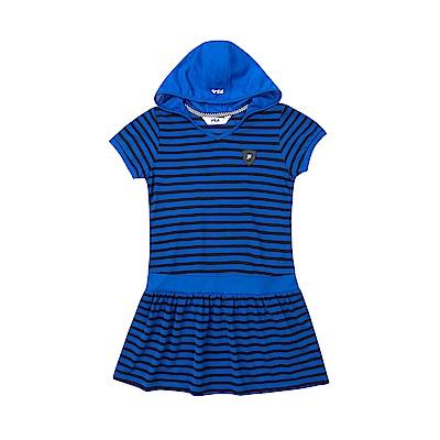 FILA KIDS 女童吸濕排汗條紋洋裝-寶藍 5DRT-4461-AB