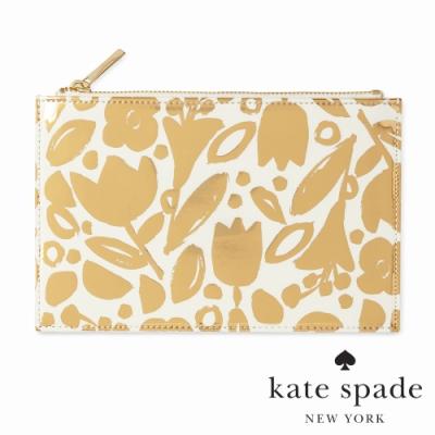 KATE SPADE 黃金花叢萬用收納化妝包 Golden Floral
