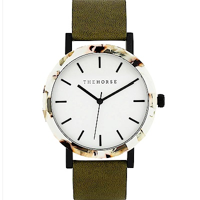 THE HORSE 橄欖琥珀真皮革腕錶 –白色/42mm
