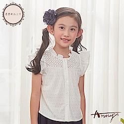 Annys安妮公主-甜美舒適小花蕾絲透氣純棉荷葉領荷葉袖上衣*8174白