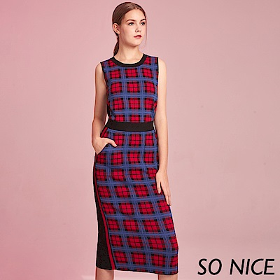 SO NICE亮麗格紋針織窄裙