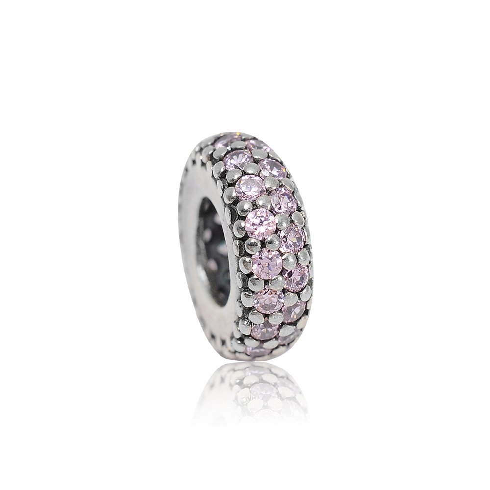 Pandora 潘朵拉 粉色環狀水鑽魅力 純銀墜飾 串珠