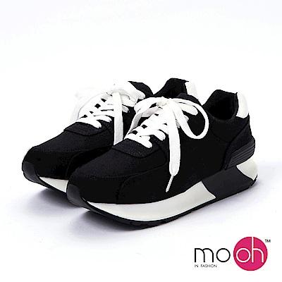 mo.oh-.圓頭拚色增高厚底球鞋-黑色