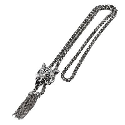 GUCCI LOVED復古925純銀狼頭造型項鍊(銀)