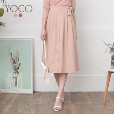 東京著衣-YOCO 經典優雅側綁帶排釦傘擺長裙-S.M.L(共二色)