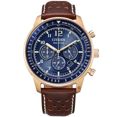CITIZEN 星辰 光動能紳士計時手錶-咖啡x玫瑰金 CA4503-18L