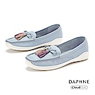 達芙妮DAPHNE 休閒鞋-質感牛皮繽紛流蘇樂福鞋-藍色