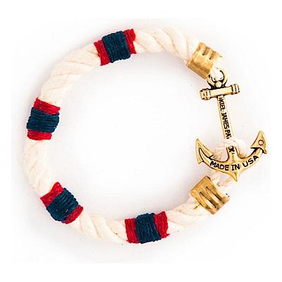 Kiel James Patrick 美國手工船錨棉麻繩單圈粗繩手環 紅藍白