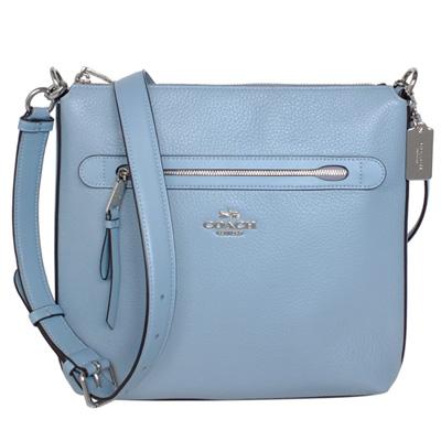 COACH水藍荔枝紋全皮前拉鍊袋中款斜背包