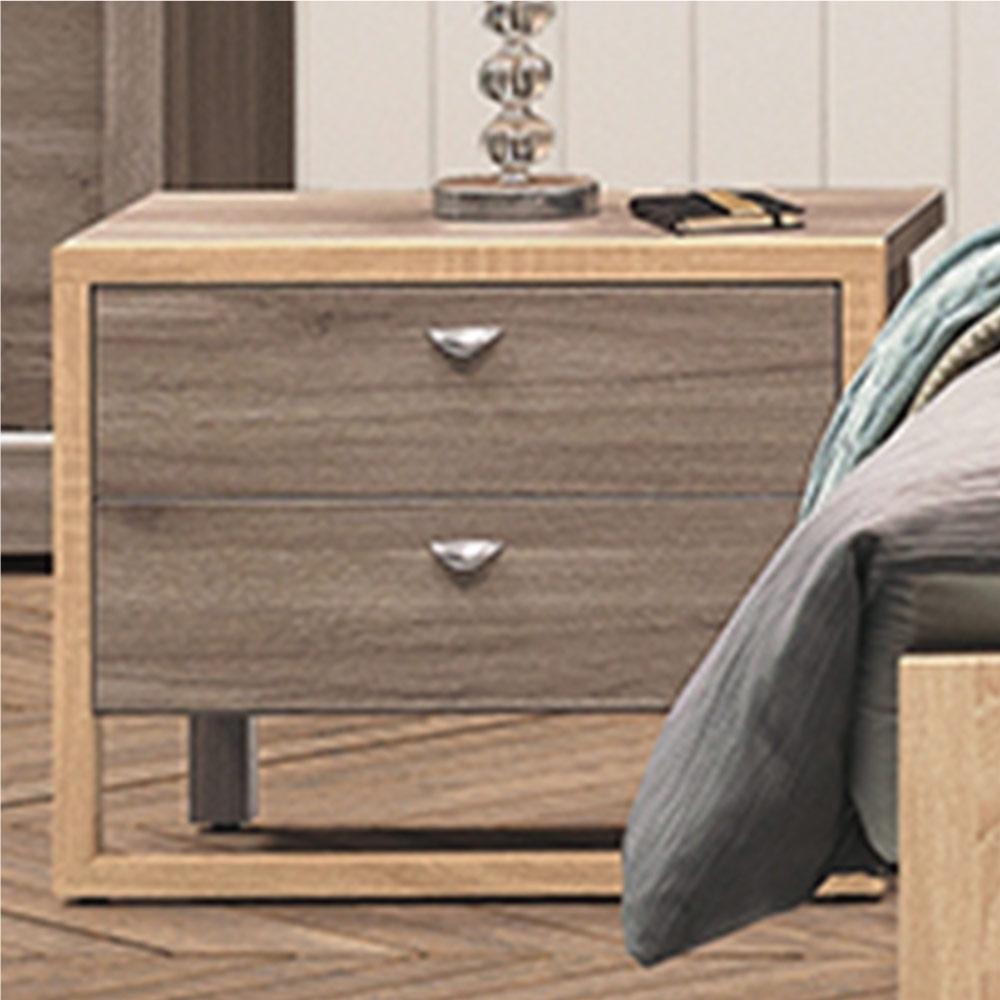 綠活居 波加 現代1.9尺二抽床頭櫃-56.1x40.1x45.5cm免組
