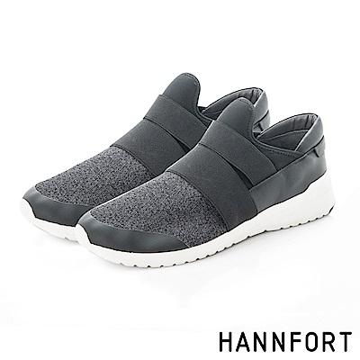 HANNFORT RS8編織透氣網布氣墊休閒鞋-男-輕盈黑