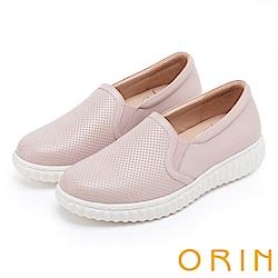 ORIN 引出度假氣氛 牛皮洞洞平底便鞋-粉紅