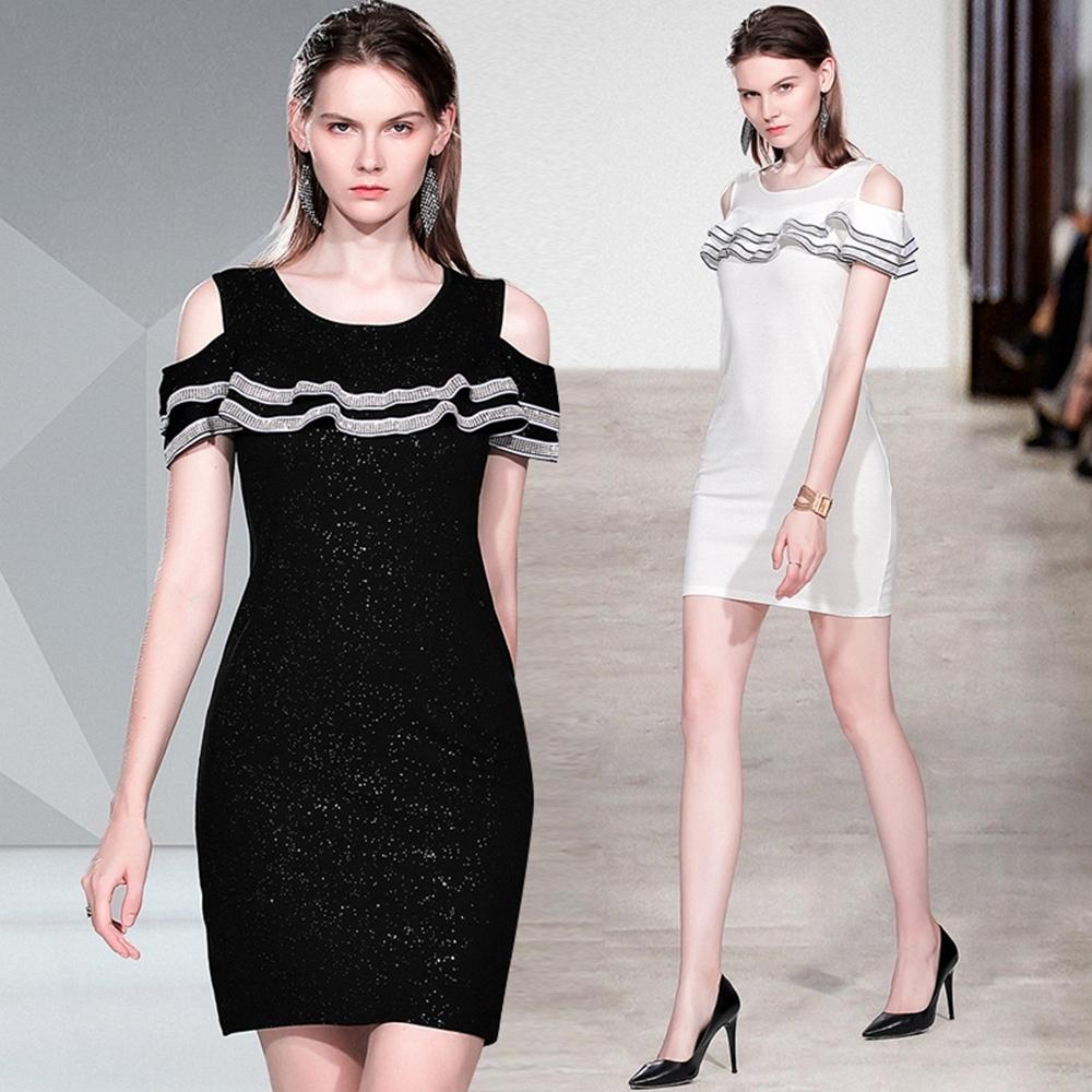 時尚性感露肩荷葉邊鑲鑽A字連身裙M-XL(共二色)M2M