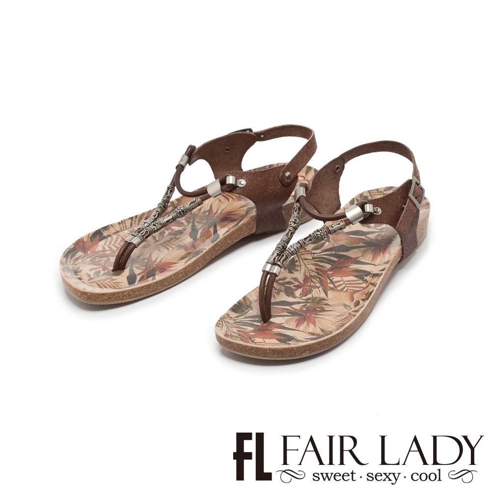 FAIR LADY PORRONET串珠彩繪夾腳兩穿涼拖鞋 摩卡