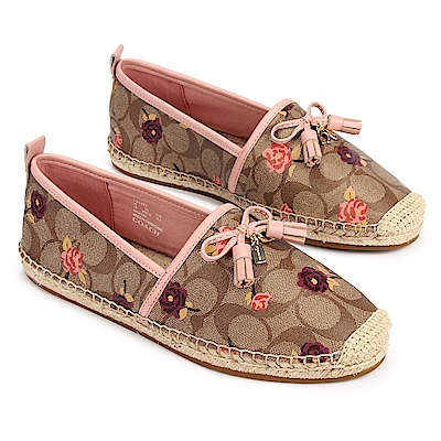 COACH 經典滿版LOGO小花圖案防水皮革編織休閒漁夫鞋(7B)-咖啡/粉紅