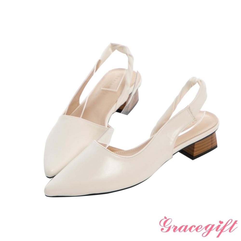 Grace gift-尖頭扭結側空低跟鞋 米白