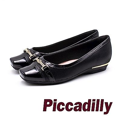 Piccadilly 龐克風限量方頭拼接娃娃女鞋- 黑 (另有藍)