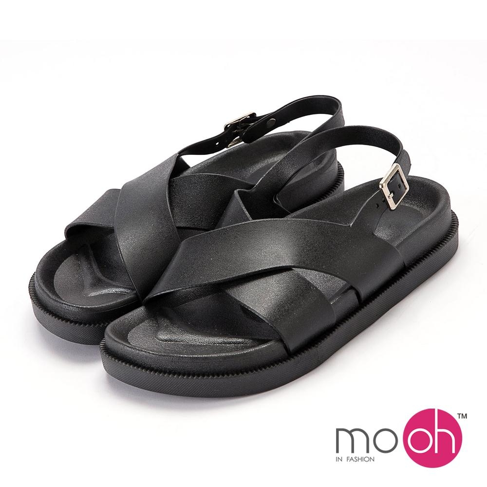 mo.oh 柔軟防水搭扣厚底涼鞋-黑色