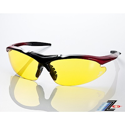 【Z-POLS】頂級TR90彈性輕量黑紅漸層 搭載PC防爆夜用黃運動眼鏡