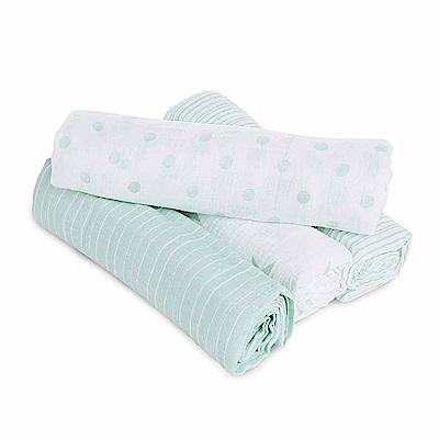 美國aden+anais新生兒外出包巾(4入)-綠星點系列AA-S3102