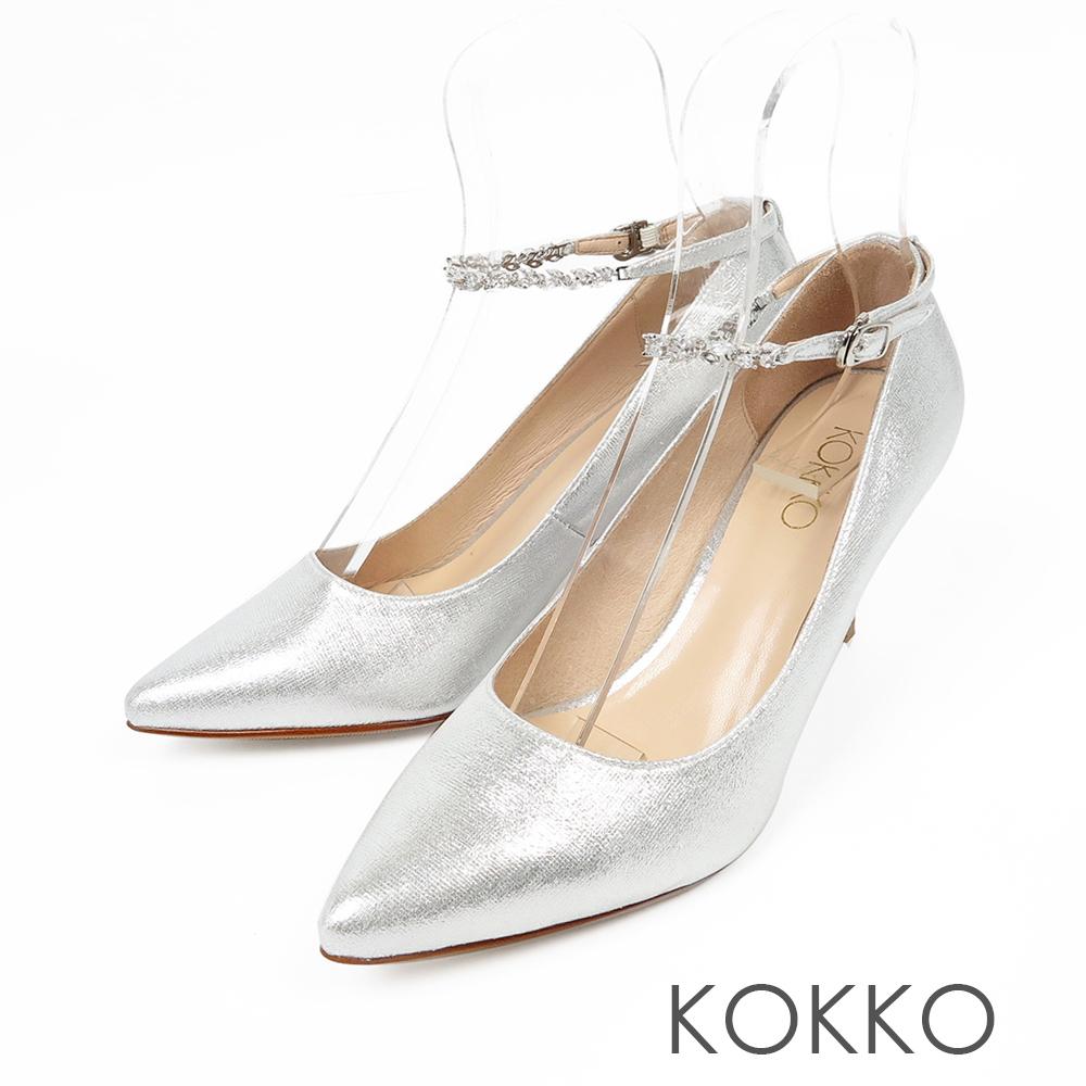 KOKKO - 浪漫時光兩穿踝帶尖頭高跟鞋-閃耀銀